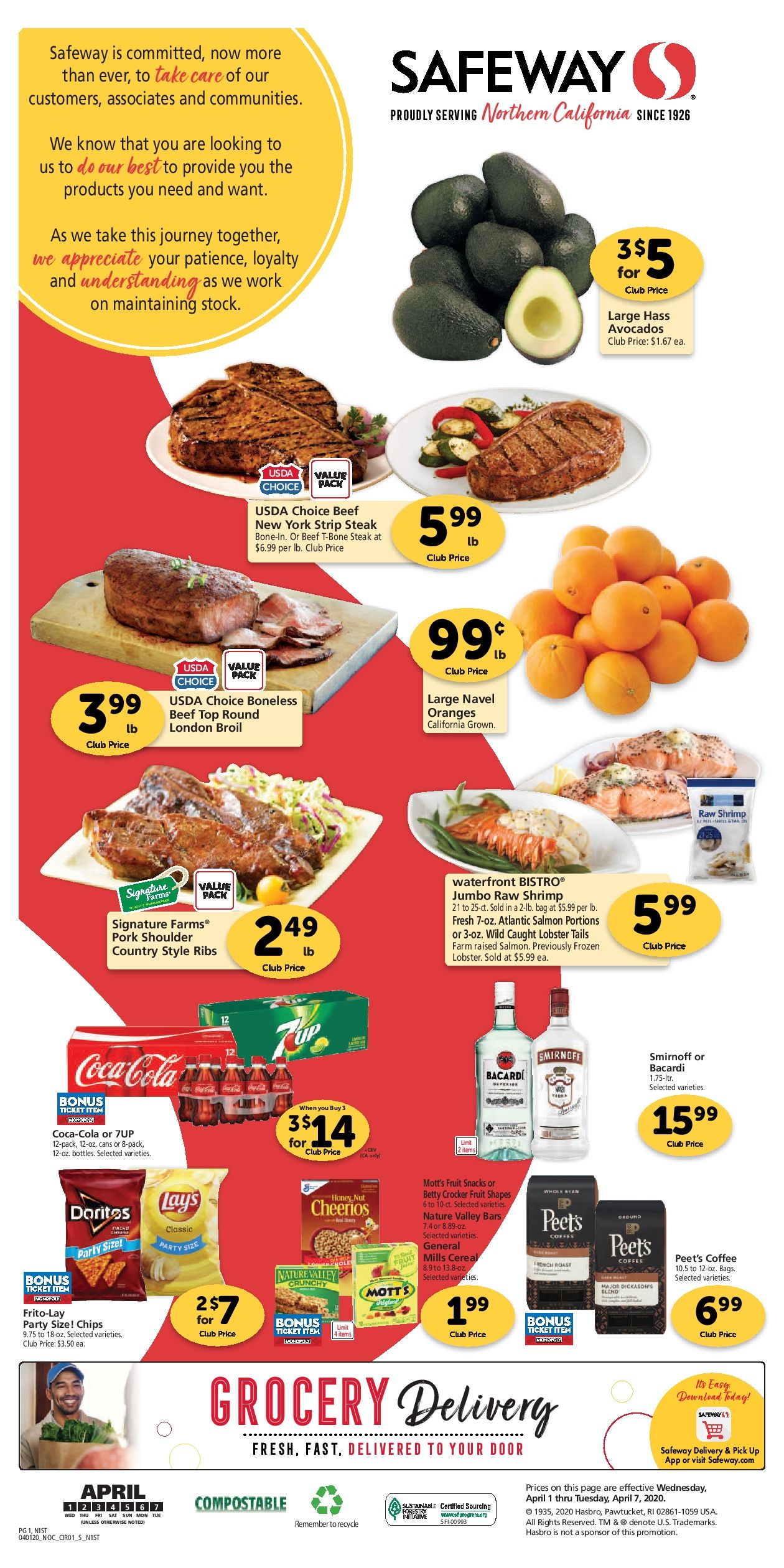 Safeway Grocery Ad 04 01 20 04 07 20 Next Week Preview Di 2020