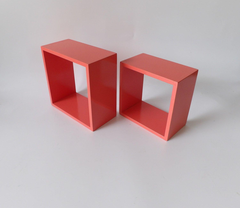 Coral Floating Shelves Shelf Square Cube Geometric Salmon Color