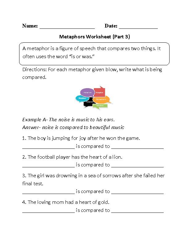 Metaphor Meanings Worksheet Part 3 School Pinterest Worksheets