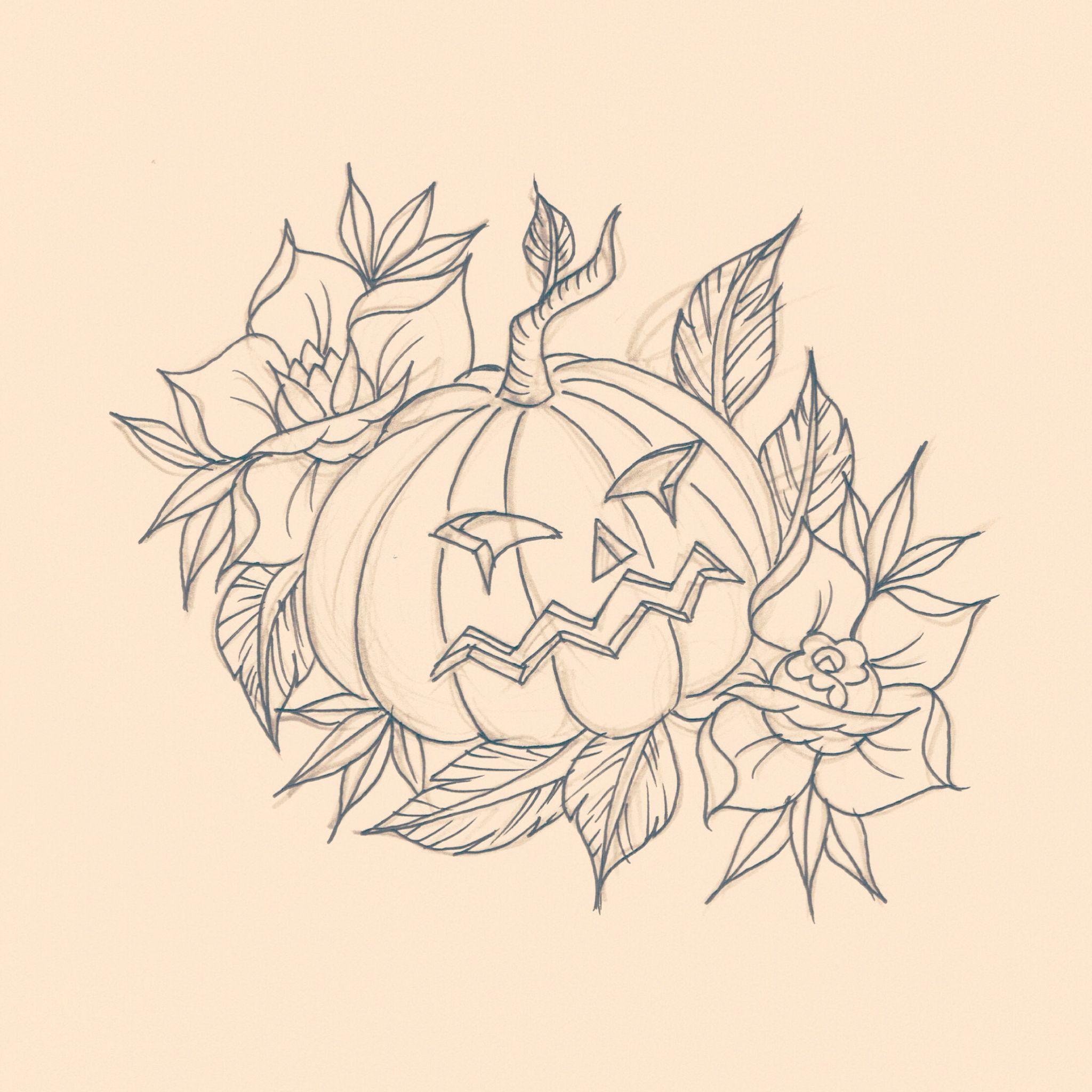 Old school Halloween pumpkin, tattoo flash Www.facebook