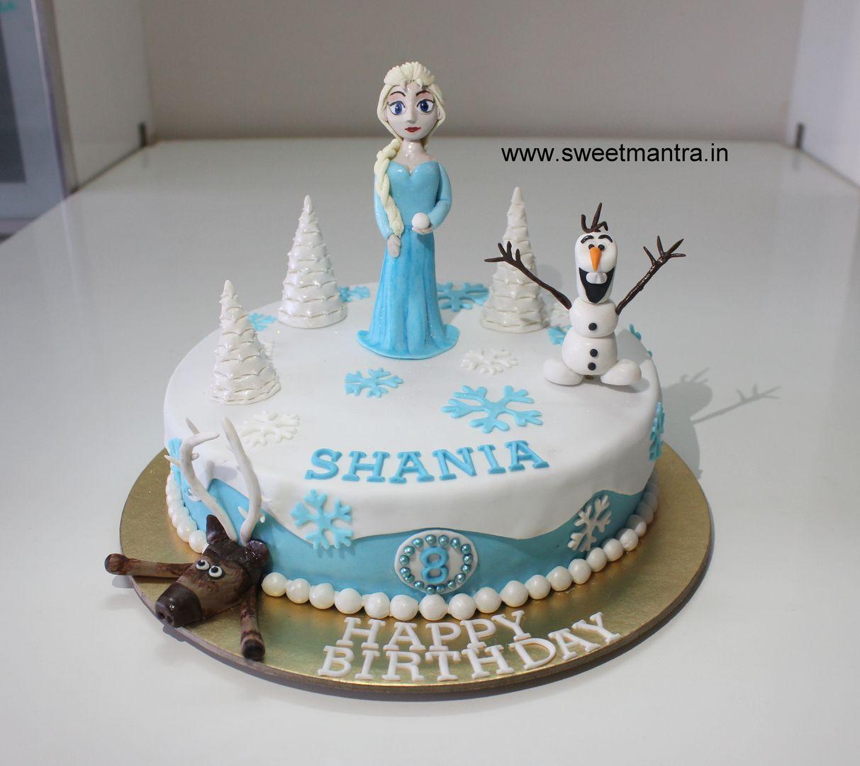 Homemade Eggless 3DCustom Frozen theme 8th birthday cake for girl