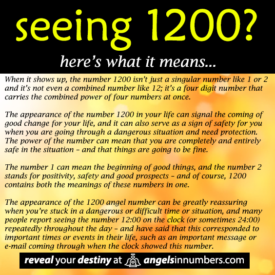 The appearance of the 1200 angel number can be greatly reassuring