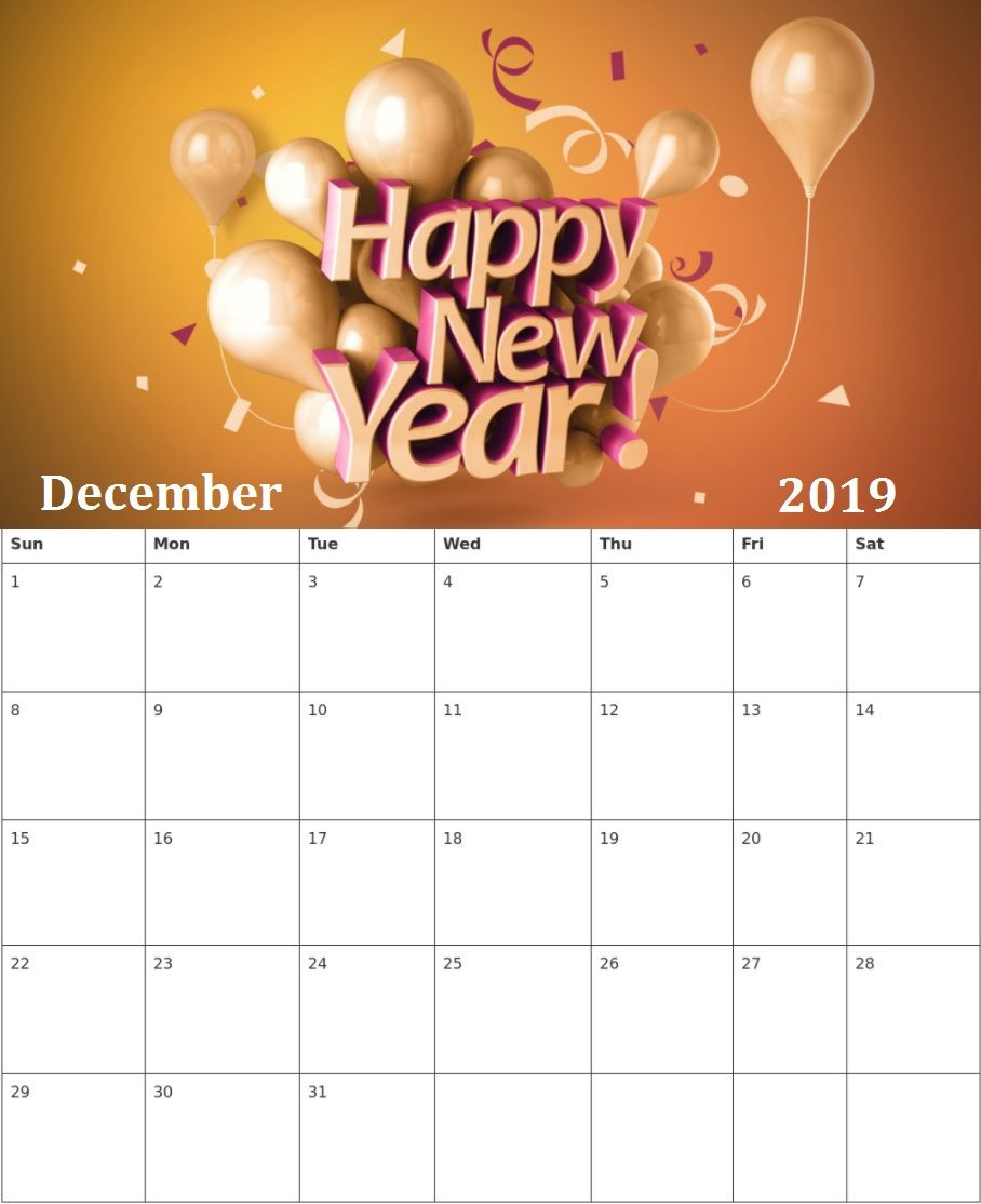 december 2019 new year calendar hd