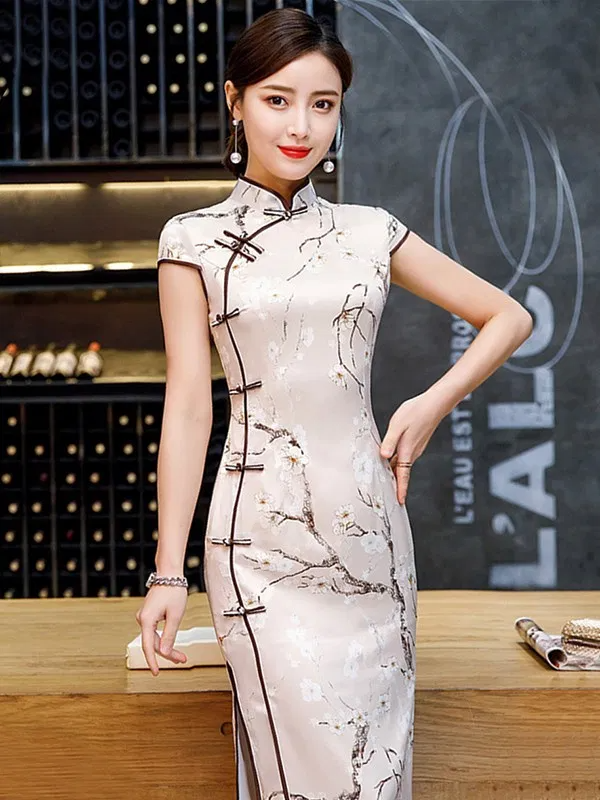 Cap Sleeve Ivory White Long Traditional Chinese Sheath Dress In 2020 Dresses Traditional Dresses Sheath Dress