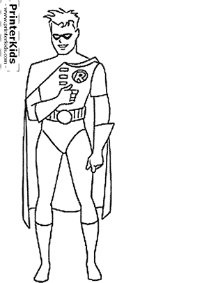 Robin Batman Coloring Page Preview