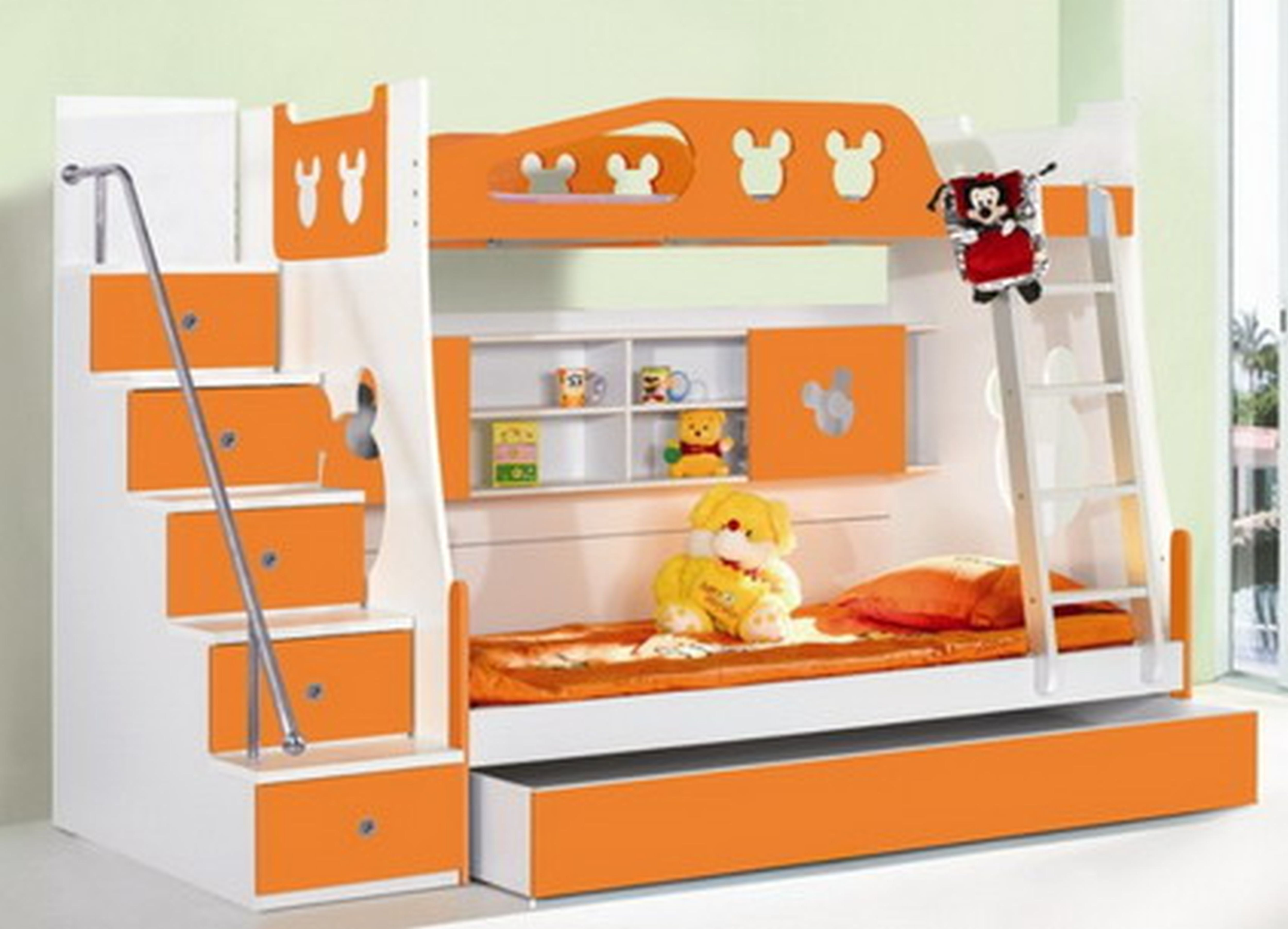 Bedroom Designs Double Deck white and orange wooden bunk bed with stairs and ladder on the