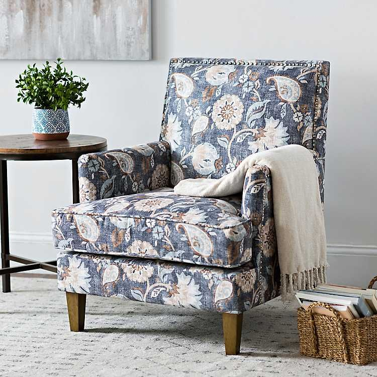 Cream And Blue Floral Square Back Accent Chair Living Room Entry Front Room Design Accent Chairs