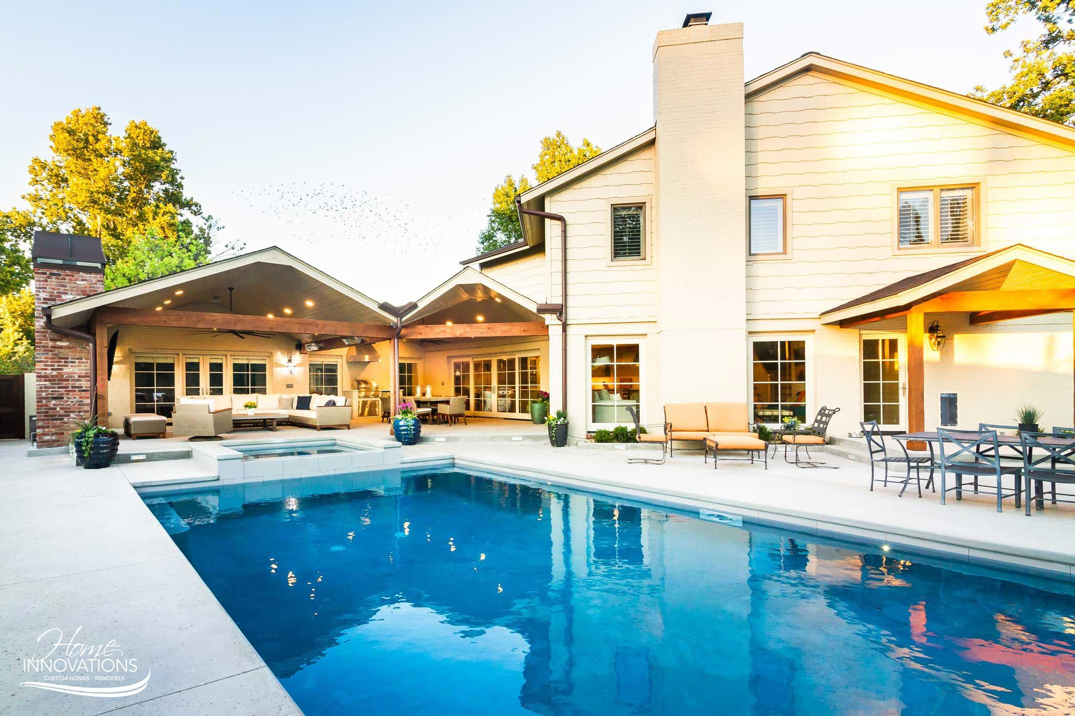 Outdoor Remodel Tulsa Oklahoma Swimming Pool Hot Tub Outdoor Kitchen Living Area With Fireplace Outdoor Remodel Outdoor Glider Outdoor Living