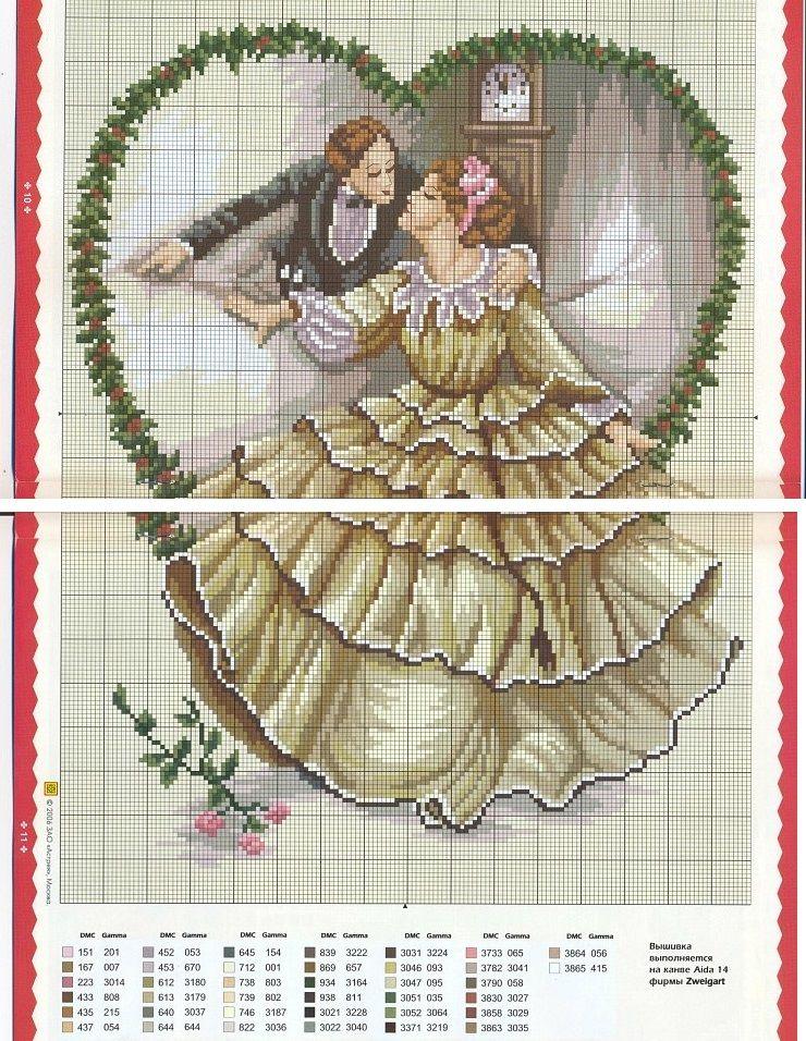 0 point de croix couple vintage - cross stitch