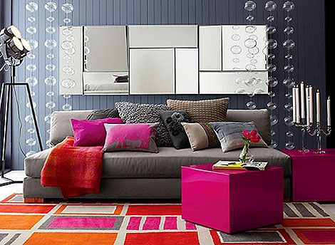 Gray Living Room With Pink And Orange Colorful Accents