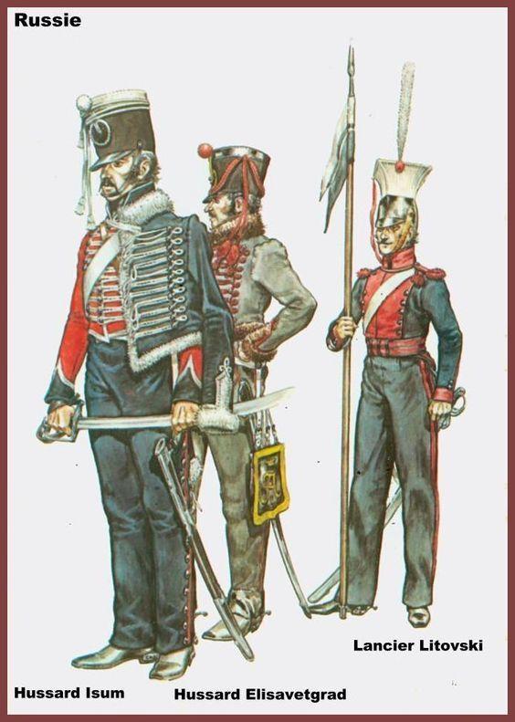 """Ussaro russo dell'Isum hussar, ussaro russo dell'Elisavetgrad e ulano lituano """"Litovski"""""""