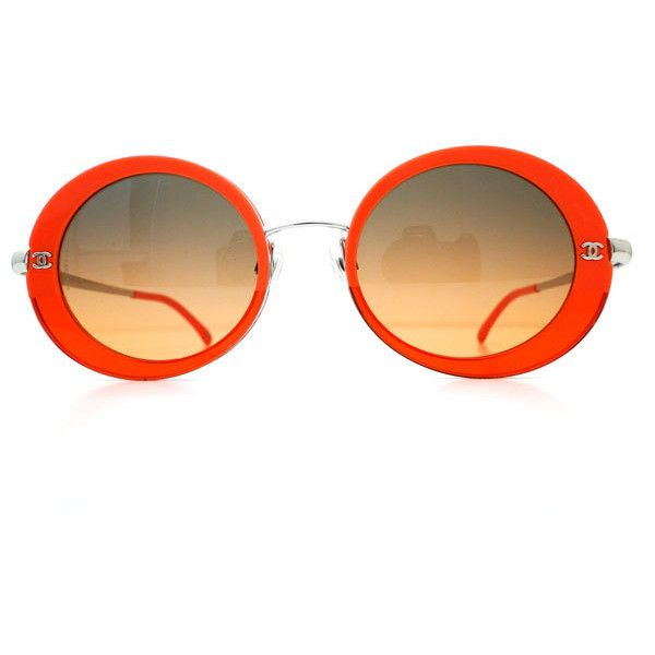 ccf6d9ef91 Chanel  Model 4182 c. 434 4G Sunglasses - Orange ❤ liked on Polyvore  featuring accessories