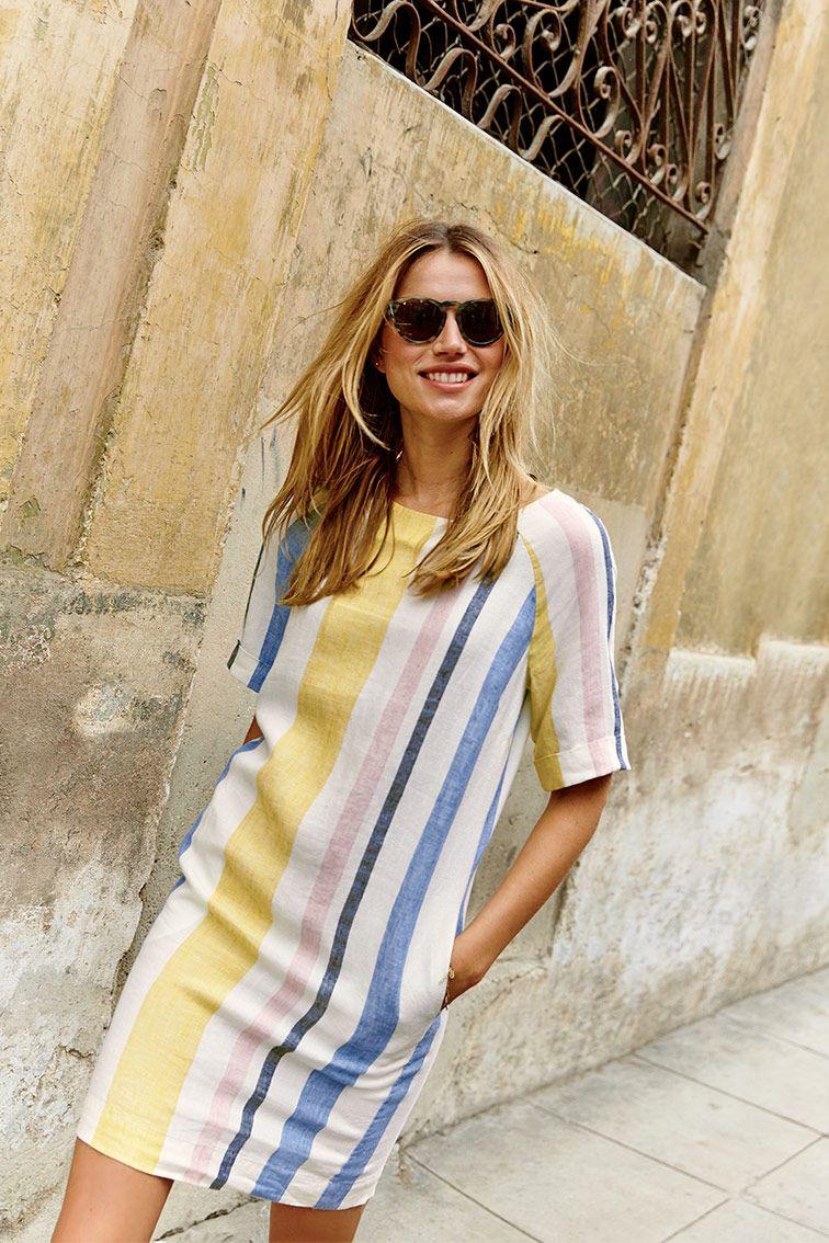 Easy Linen Tunic Dress Mimosa Yellow Multistripe Linen Tunic Dress Summer Dresses Online Linen Fashion [ 1134 x 756 Pixel ]