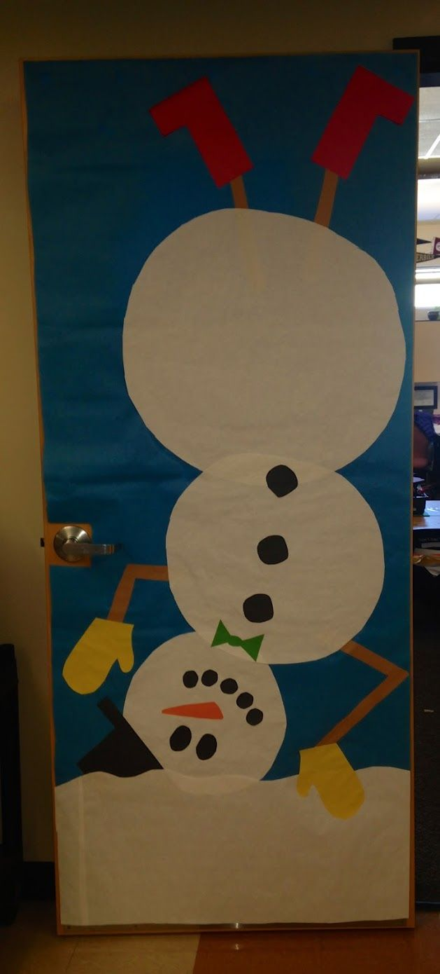 Classroom Door Decoration Ideas For January : Winter snowman classroom door decor
