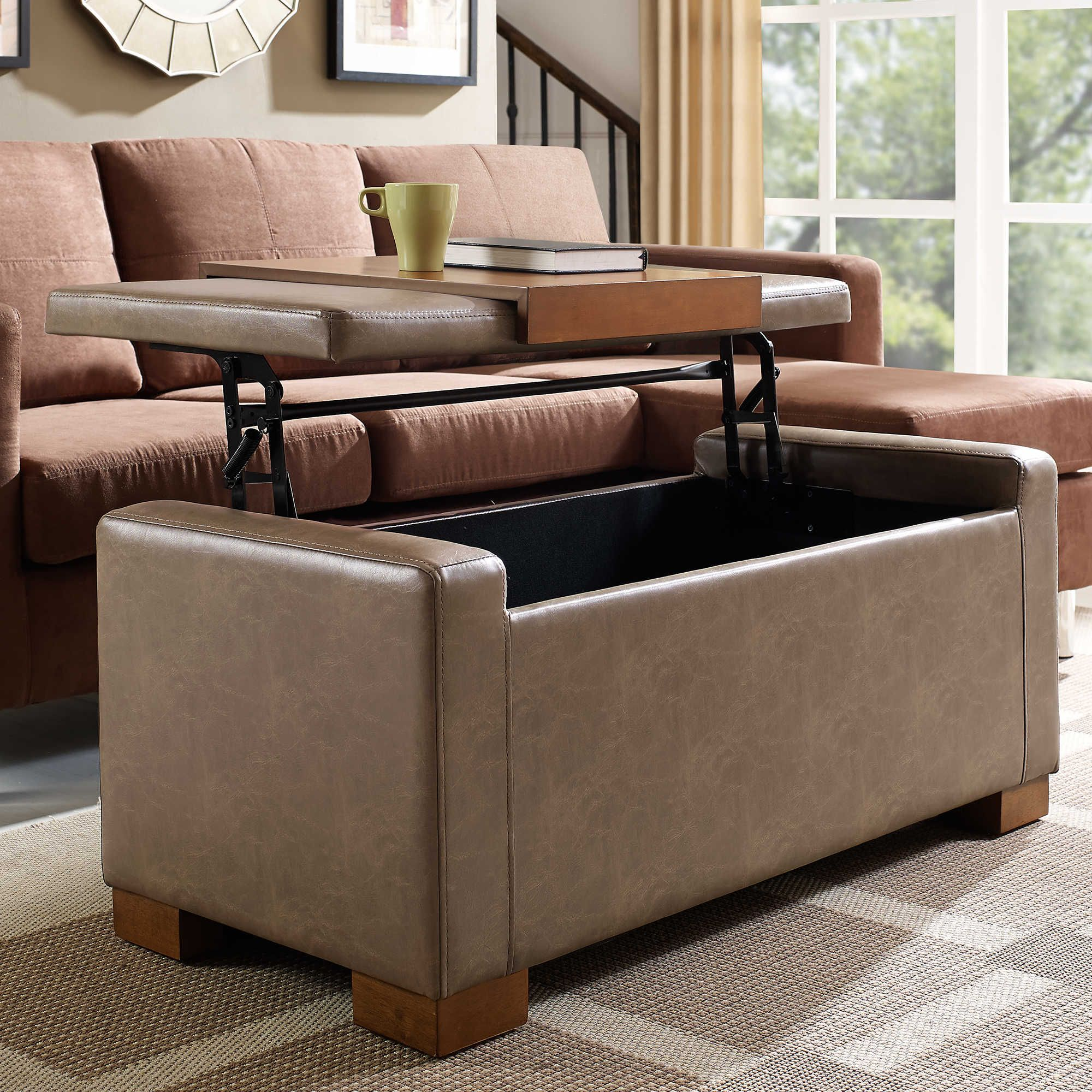 Linon Home Davis Lift Top Storage Ottoman in Pebble