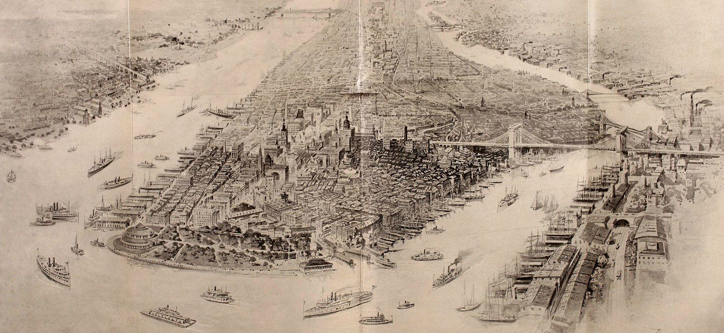 "Discovering NYC on Twitter: ""A lovely bird's eye view of New York, showing existing and proposed infrastructure, 1898 #NYC #history https://t.co/ogQnRLsdV2"""