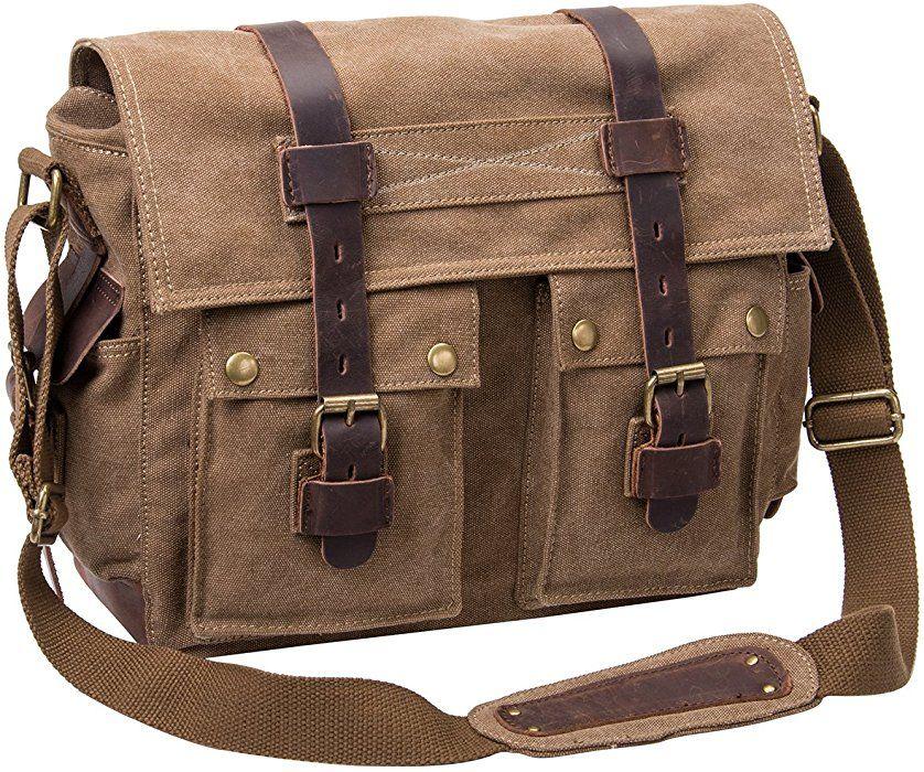770ccbccc7b0 Peacechaos Men s Canvas Leather DSLR SLR Vintage Camera Messenger Bag  (Carbonarius)