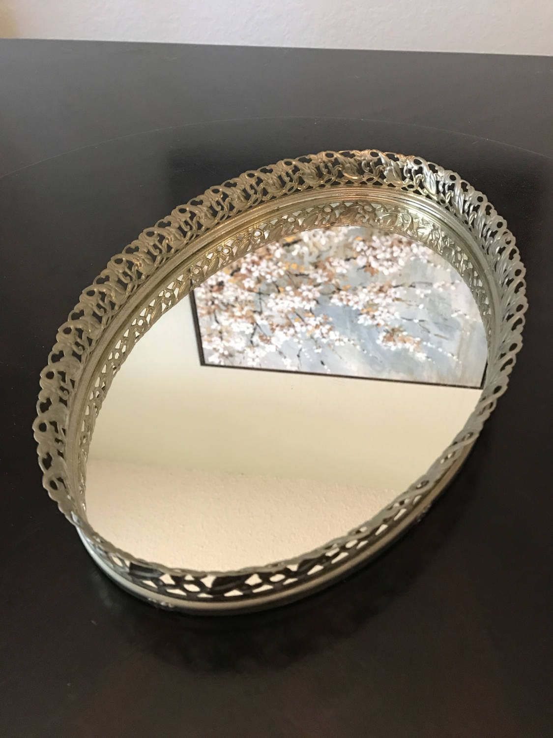 Vintage Oval Mirror Vanity Tray with Floral Filigree Rim