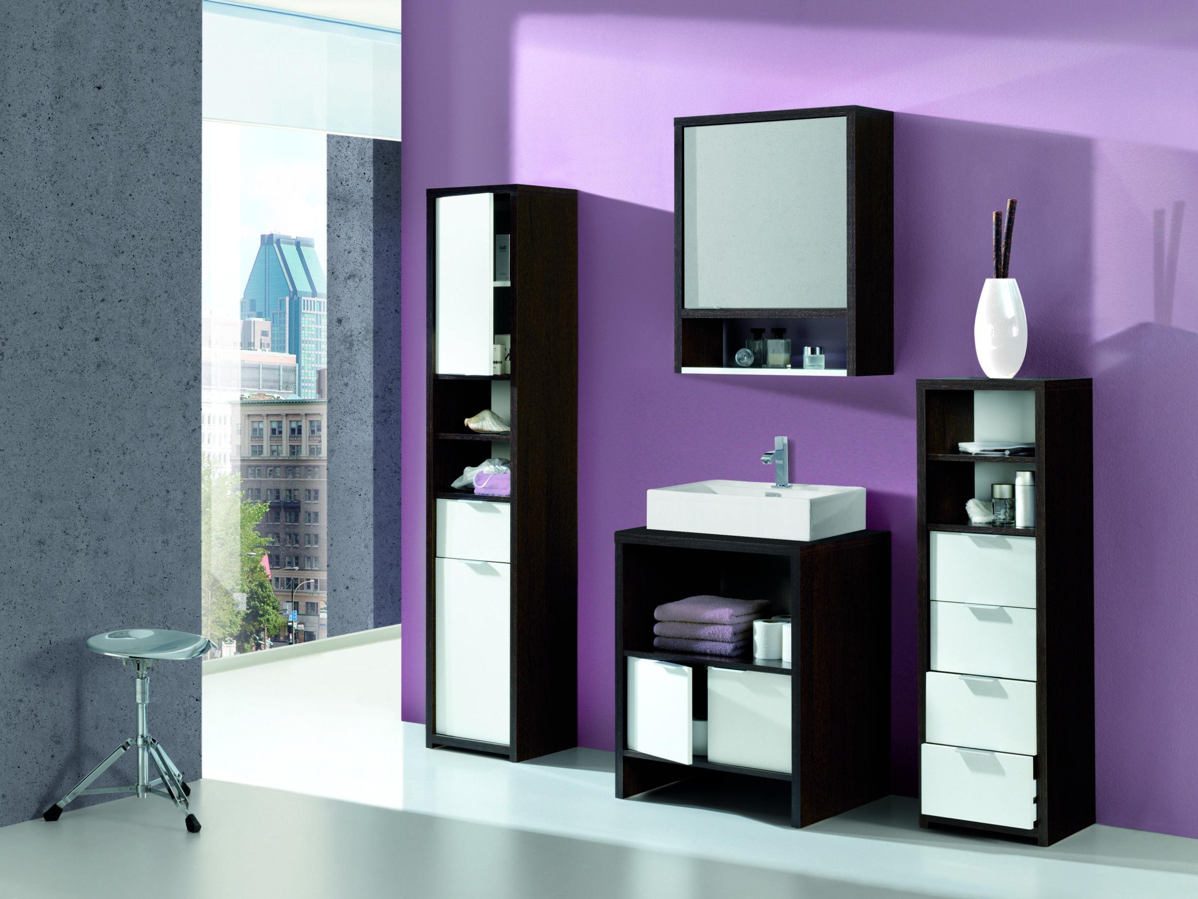 Conjunto completo de espejo, lavabo y estanterías bicolor para baños ...