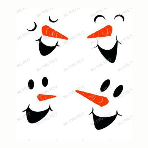 Snowman Faces Set 2 Template | Snowman Faces, Vinyl Windows And