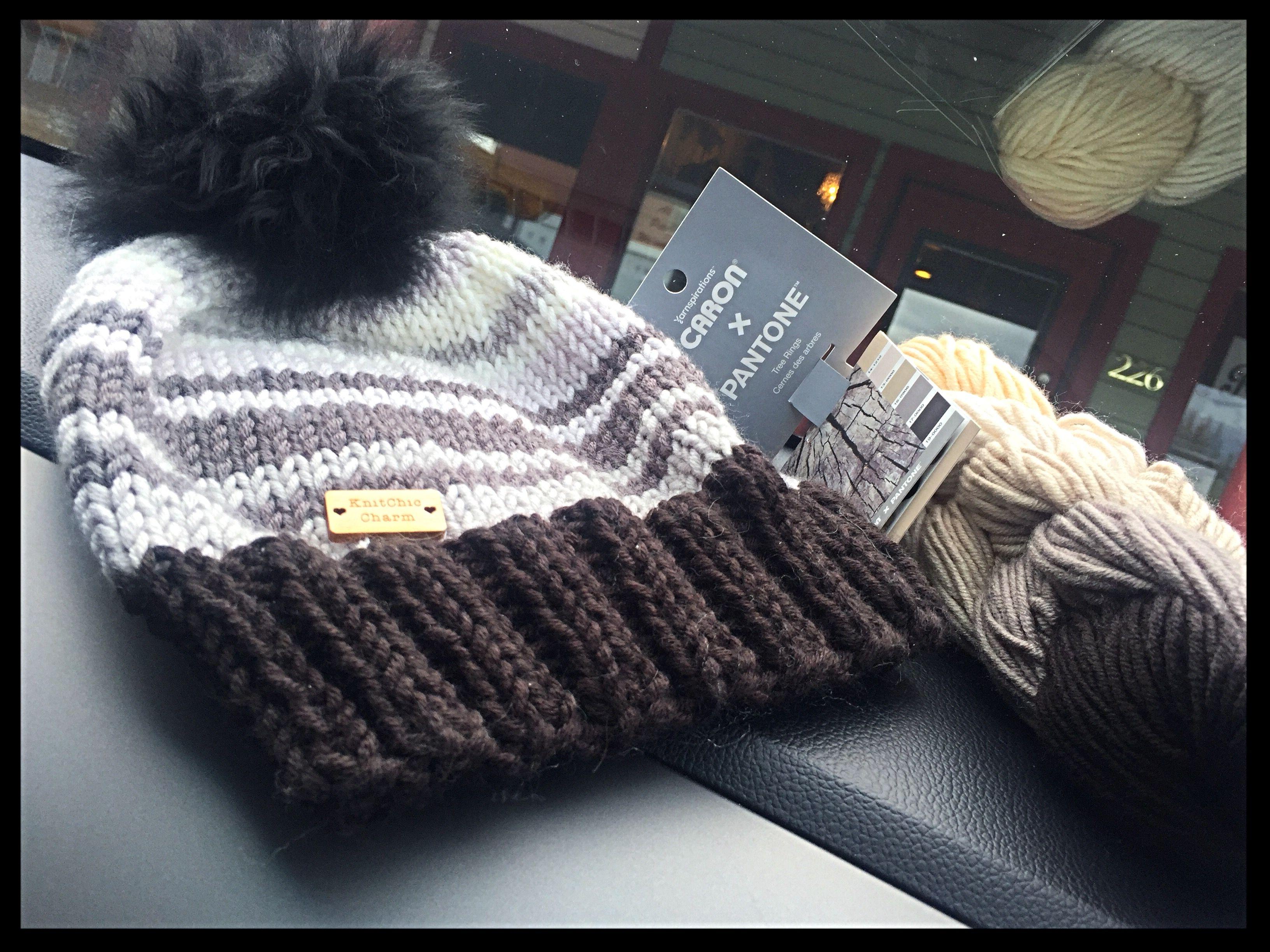 Caron pantone yarn used to knit their free stripe hat