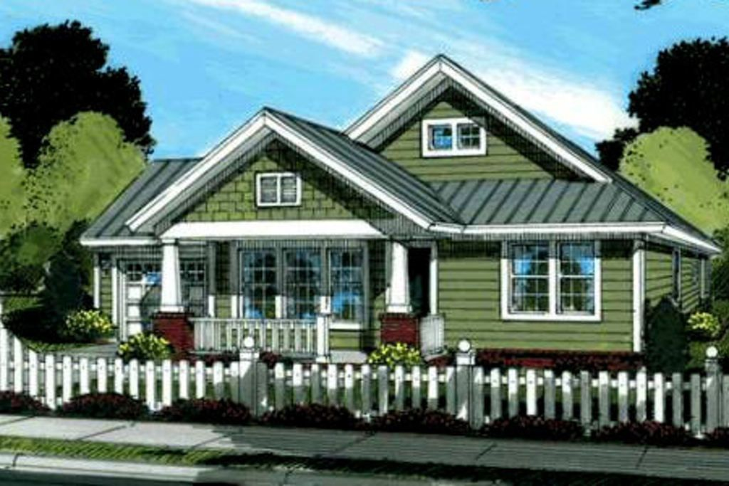 Craftsman front elevation plan 20 1880 3 for Houseplans com craftsman