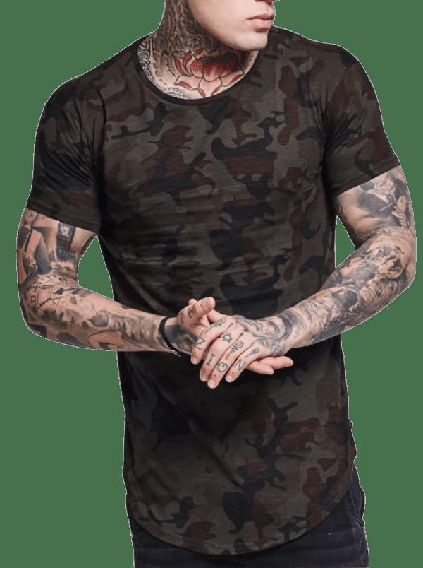 Compre Online pelo melhor preço Camiseta Camuflada Exército Masculina Long  line Oversized Alongada d400a2ae859c7
