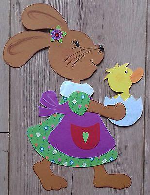 Fensterbild Tonkarton Frühling/Ostern Ein Osterhasen Mädchen mit ...