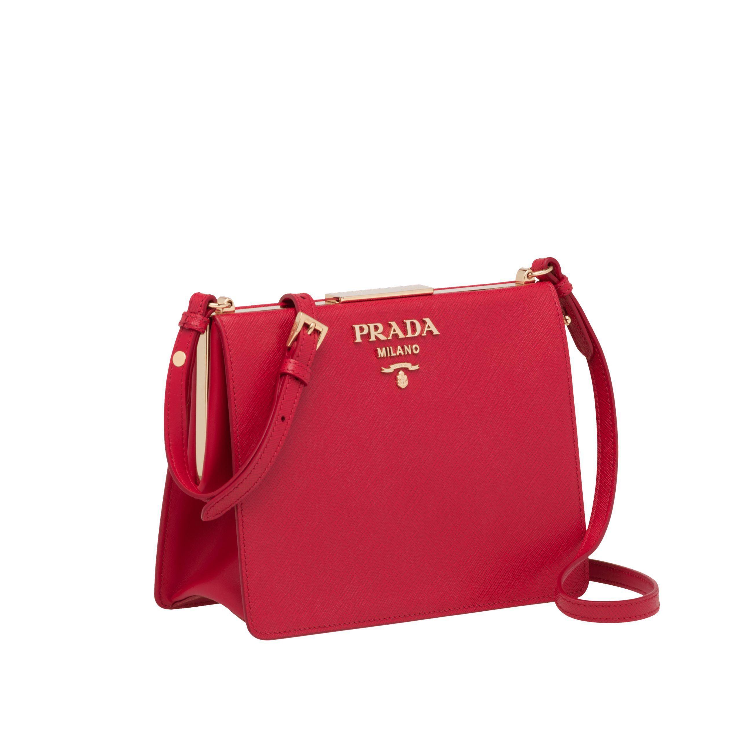 Lyst - Prada Light Frame Saffiano Leather Bag in Red b0785dc702b84