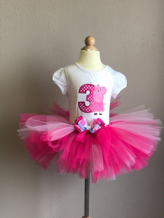 party Tutu outfit Peppa Pig 2nd Birthday Dress--With NAME-