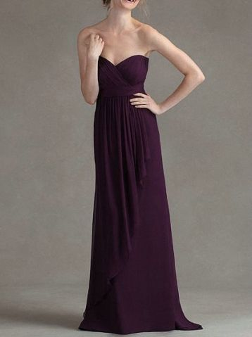Charming Sweep Train Grape Evening Dress Chiffon Sweetheart Bridesmaid Dress