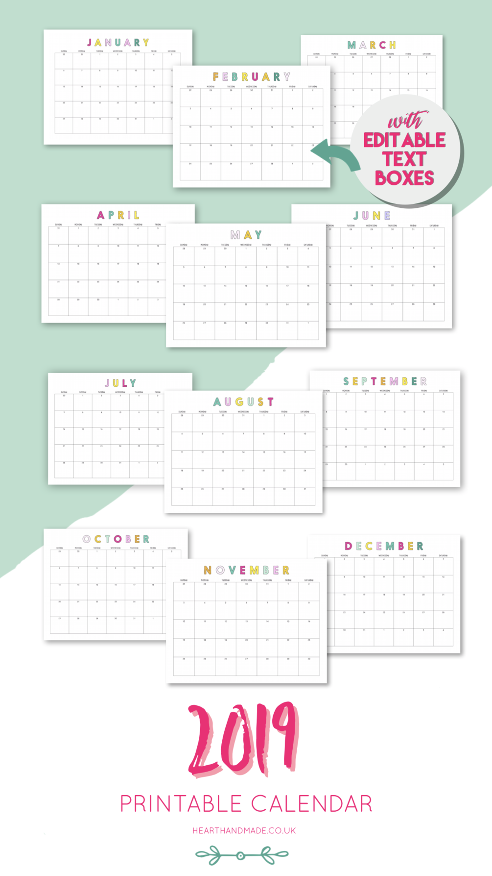 Customizable 2019 Full Year Calendar In Landscape Format With Text Boxes In Each Month For You To Add Yo Planner Printables Free Printable Planner Free Planner