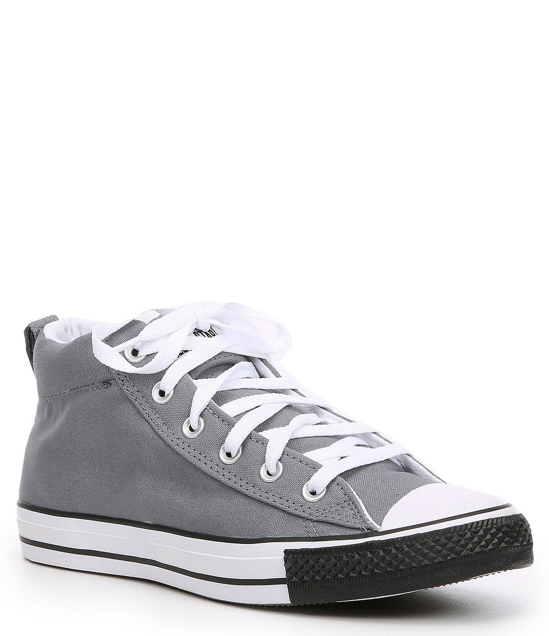Converse Men's Chuck Taylor All Star Street Mid Sneaker - Cool Grey/White/Black 7.5M #whiteallstars