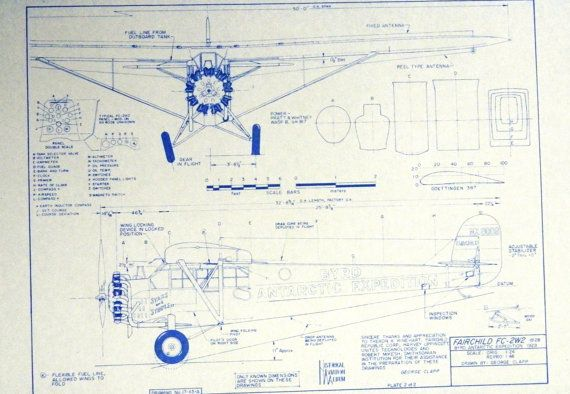Wonderful 24 x 36 blueprint of the fairchild fc 2w2 airplane made wonderful 24 x 36 blueprint of the fairchild airplane made the old fashioned way with ammonia activated paper on a diazit blueprint malvernweather Choice Image