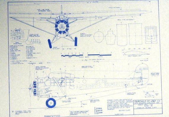Wonderful 24 x 36 blueprint of the fairchild fc 2w2 airplane made wonderful 24 x 36 blueprint of the fairchild fc 2w2 airplane made the old malvernweather Gallery