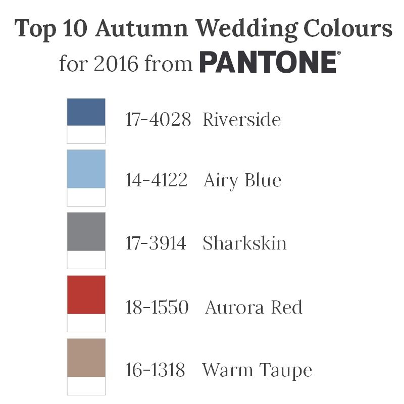 Top 10 Fall Wedding Colours for 2016 from Pantone – Part I
