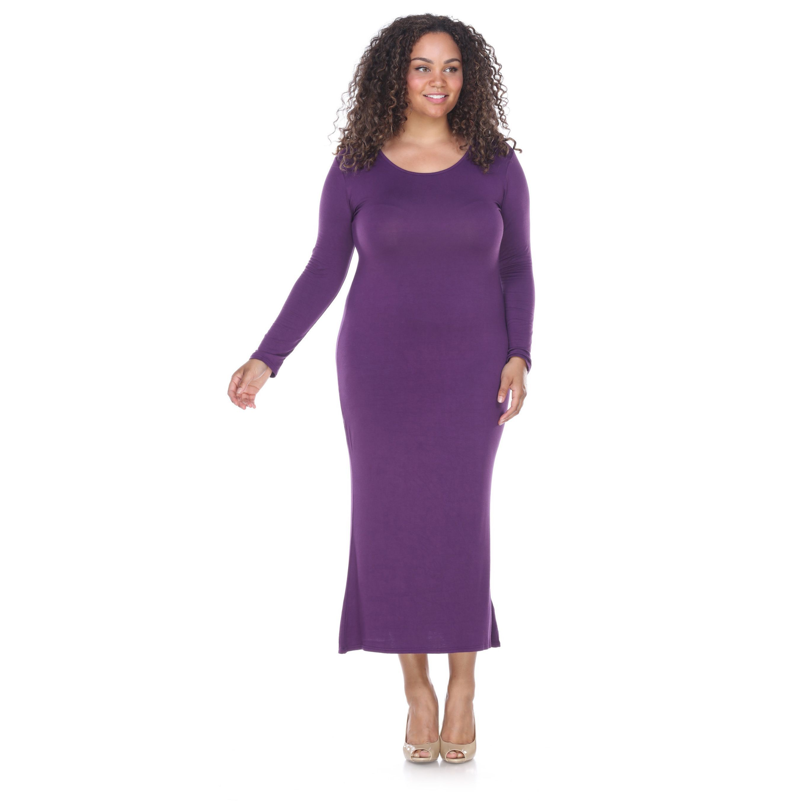 White mark plus size long sleeve maxi dress red products