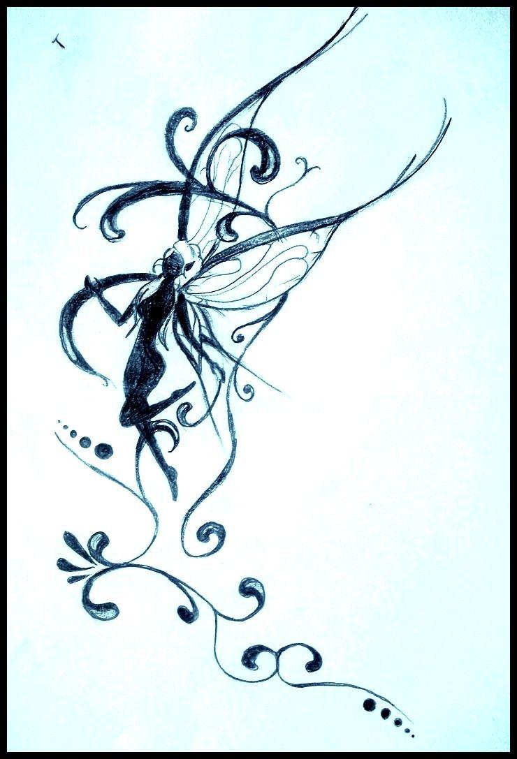 F e dessin crayon drawing tatouage tattoo fairy - Dessin feerique ...