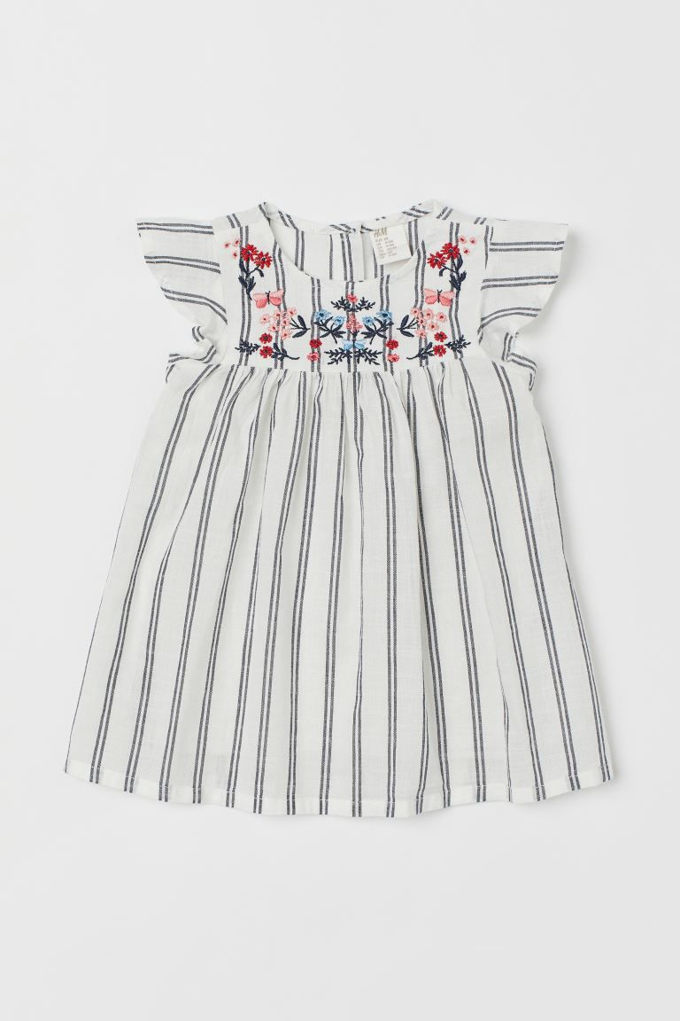flared cotton dress - white/blue striped - kids | h&m us