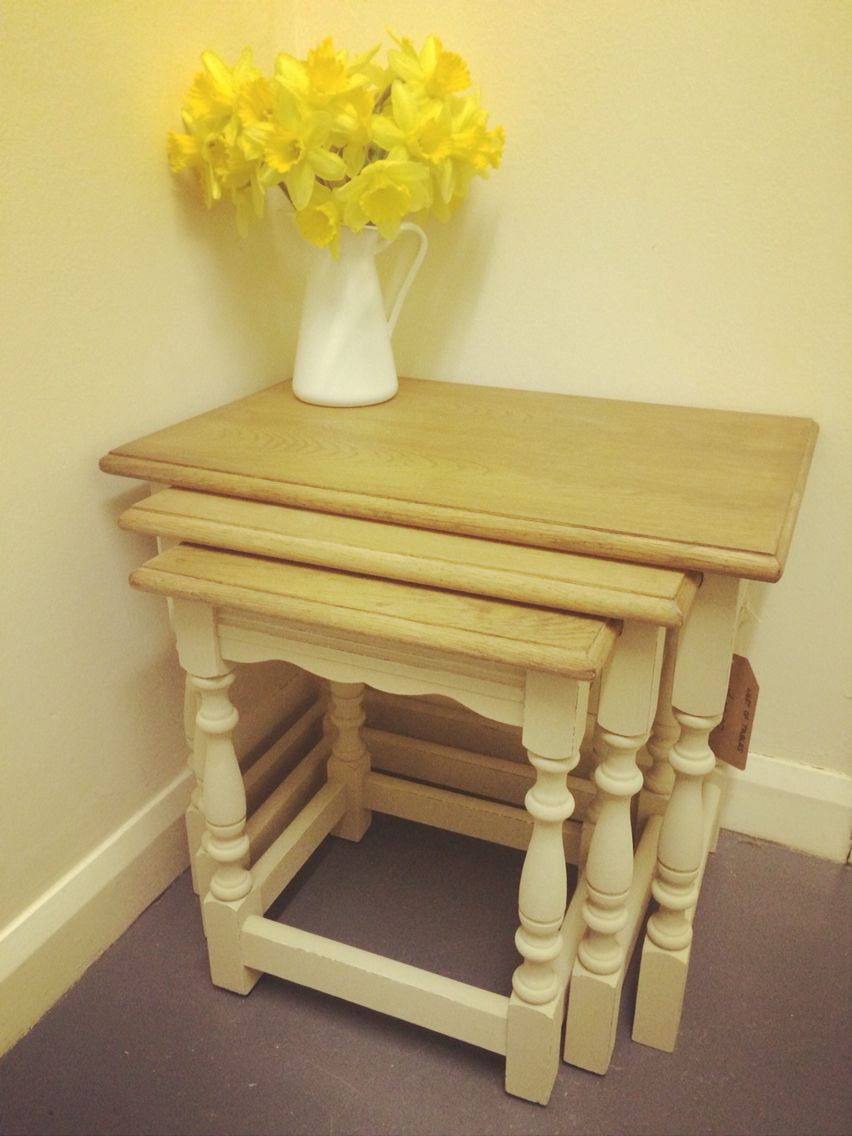 Country Style Nest Of Tables, Tops Sanded And Varnished, Legs Painted In  Everlong Latte