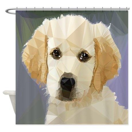 Golden Retriever Puppy Low Poly Shower Curtain By Fractal Art By