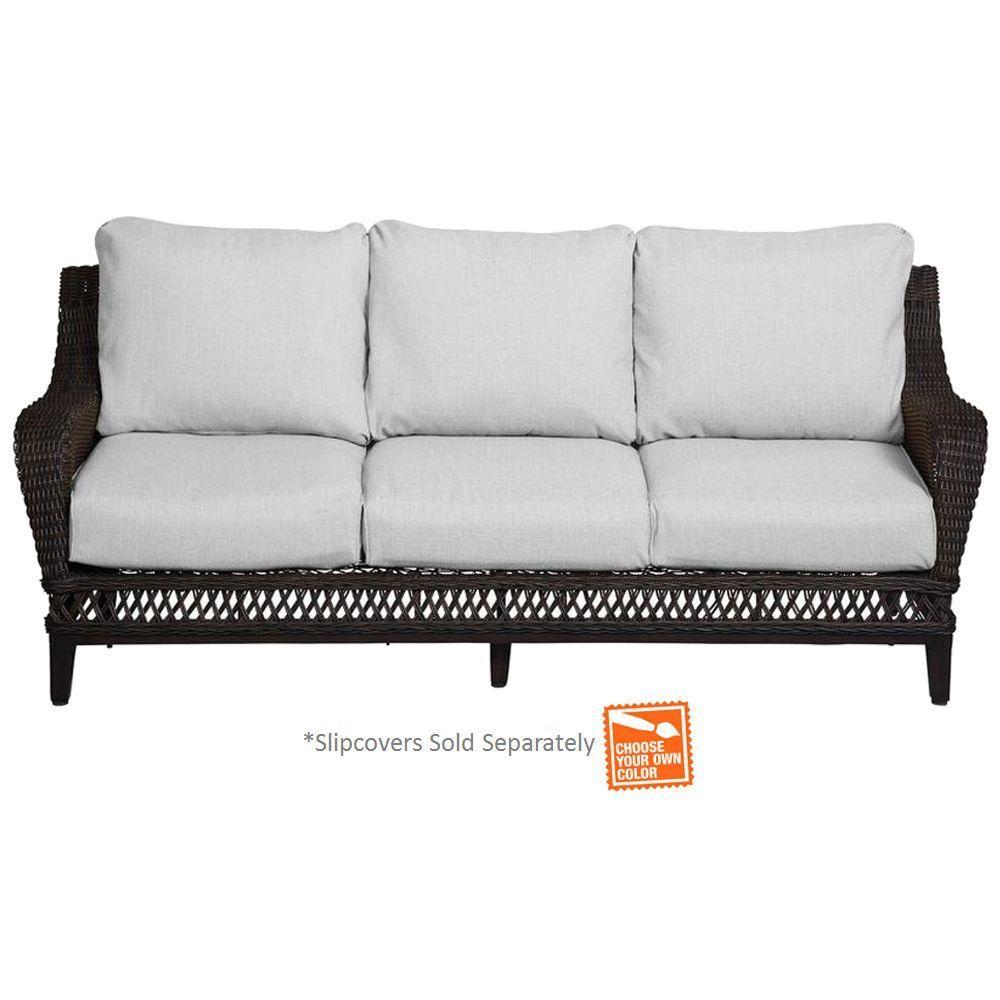 Hampton Bay Woodbury Patio Sofa With Cushion Insert Slipcovers Sold