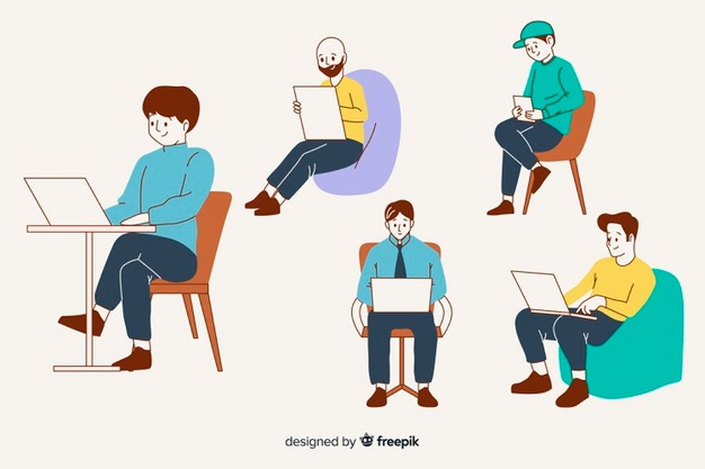 People At The Office In Korean Drawing Style Paid Ad Affiliate Office Style Drawing People In 2020 Fashion Drawing Vector Free Drawings