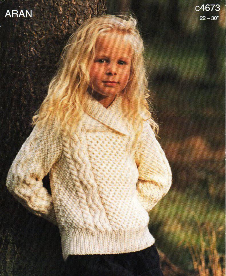 childrens aran sweater knitting pattern pdf childs cable jumper ...
