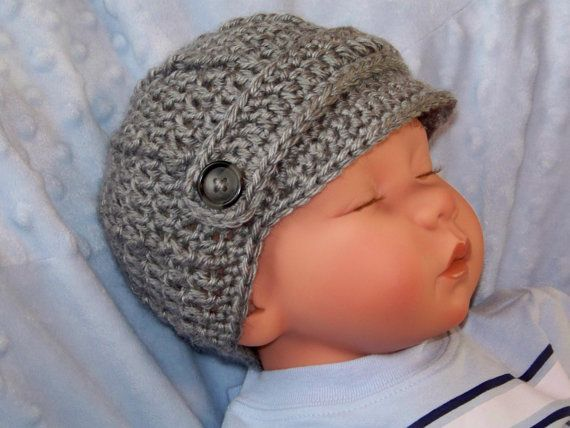 Baby Boy Newsboy Hat, Baby Boy Visor Hat, Newborn Crochet Newsboy ...