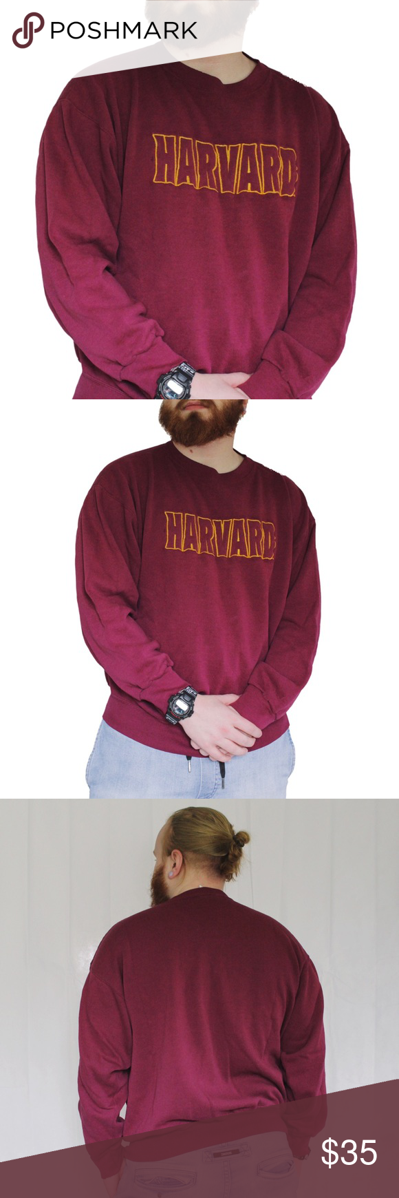 1980 harvard spell out embroidered sweatshirt embroidered