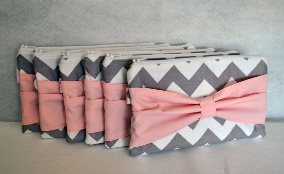 Bridesmaid Gift Set of 6 Chevron Bow Clutch Choose your colors Bridesmaids Gifts suuuuch a good idea