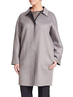 6264d54c43 MARINA RINALDI Women's Gray Nepal Cashmere Reversible Coat $4125 NWT ...