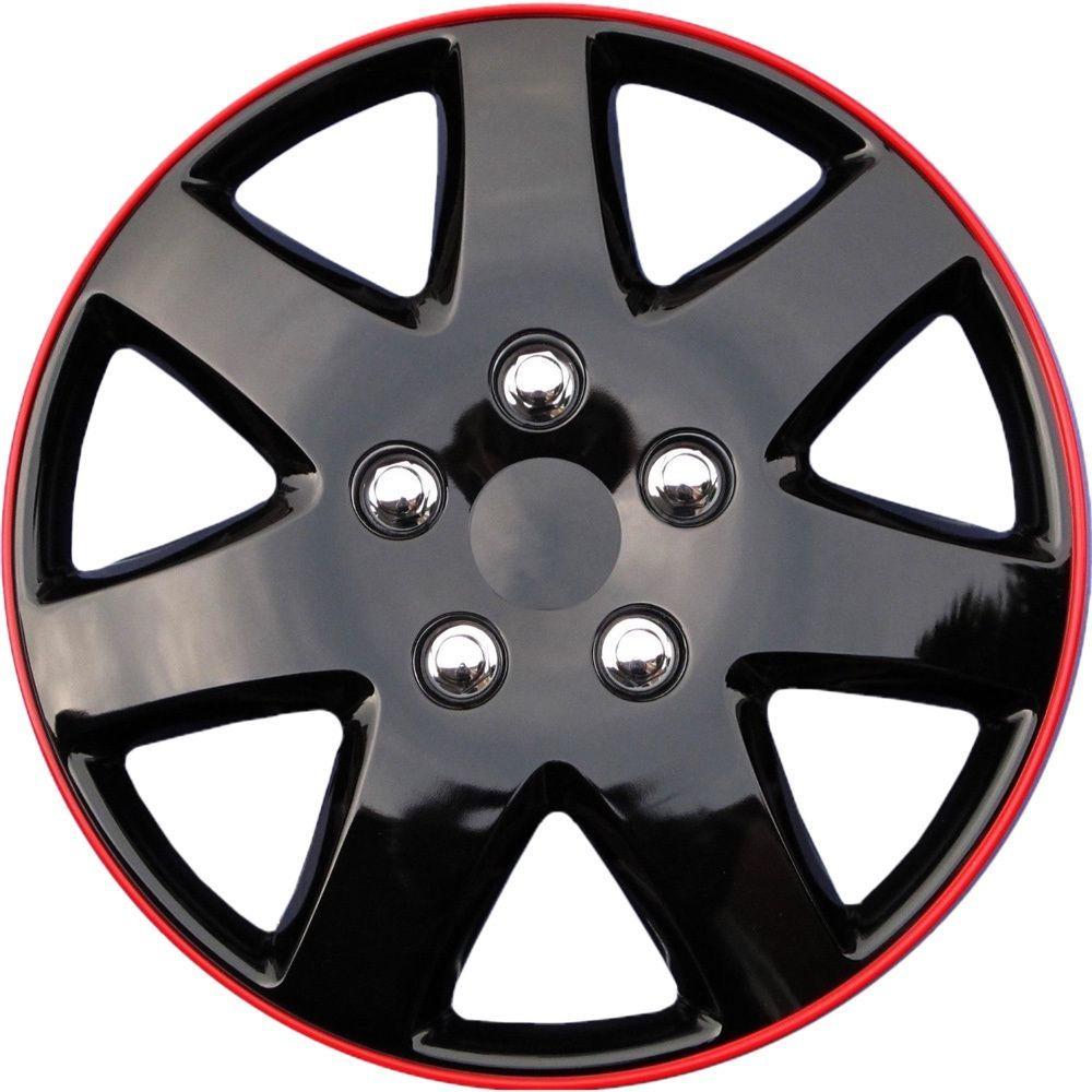 Oxgord ABS Black/ Red 15-inch Design Hubcaps (Set of 4) (Black & Red)