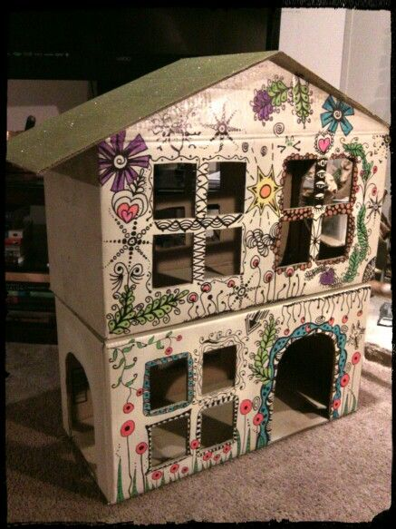 Cardboard cat playhouse